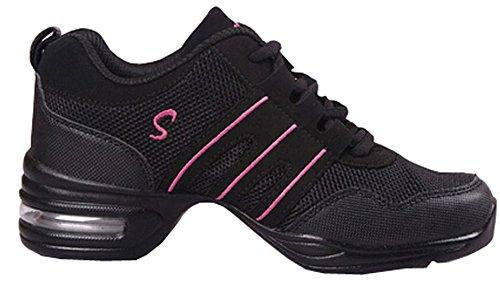 Zapatos de baile Danza moderna zapatos de jazz movimiento zapatos de la aptitud (EU38, Rosa negro)