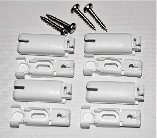 Spannschuhe für verspannte Plissees (4 Stück, weiß) - passend für Stick & Fix Klebeträger, Front Klebeplatten und Falzfix-Klemmträger
