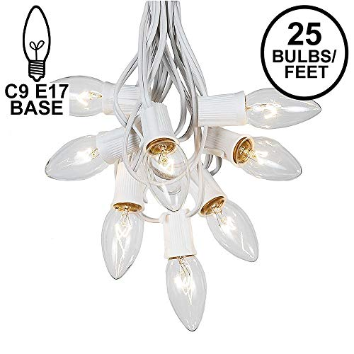 C9 Clear Christmas String Light Set - Outdoor Christmas Light String - Wedding String Lights - Hanging Christmas Lights - Roofline Light String - Outdoor Patio String Lights - White Wire - 25 Foot