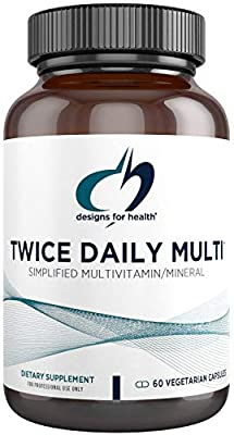Designs for Health - Twice Daily Multi - Active Folate + TRAACS Amino Acid Chelated Minerals + Iron-Free