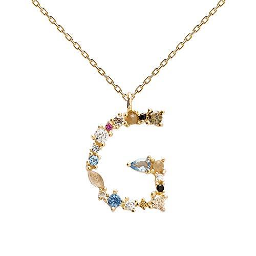 PDPAOLA - Collana Lettera G - Argento Sterling 925 Placcato in Oro 18 carati - Gioielli per Donna