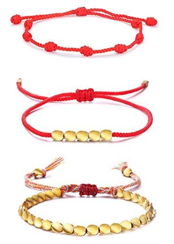 CASSIECA 3Pcs Pulsera Tibetana de Cuentas Pulsera Roja 7 Nudos Amuleto del Kabbalah Pulsera Cordón Pulsera Hilo Rojo de la Suerte Unisex Pulsera Ajustable para Mujeres Hombres Tibetano Pulsera Amistad