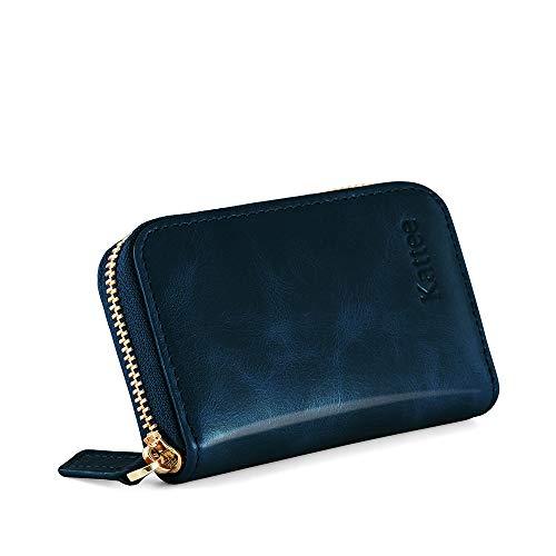 Kattee Damen echtes Leder Geldbörse Kreditkartenhalter RFID Blocking Zipper Geldbeutel Kreditkartenetui Kreditkartentaschen