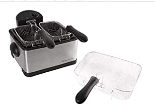 Electric Deep Fryer- 3 Fry Baskets, 1 Large and 2 Small for Dual Use- At Home Stainless Steel Hot Oil Cooker by Classic Cuisine (4 Liter)