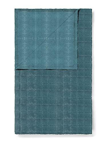 ESSENZA Quilt Julia Uni Baumwolle Samt Denim, 270x265 cm