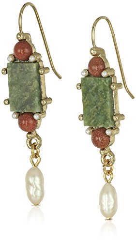 1928 Jewelry Gold-Tone Semi-Precious Aventurine Green Rectangle Drop Earrings