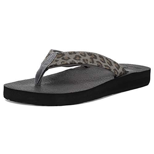 FANTURE Damen Flip Flops Arch Support Yogamatte Einlegesohle Sandale Casual Slipper Außen und Innen -E3SLT005-Leopard Black-39