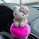 WSSMSY 2 llaveros de Hello Kitty con cristales de estrás para colgar en el coche