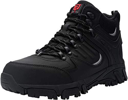 LARNMERN Zapatos de Seguridad Hombre, Sra Antideslizante Anti Estático Zapatos de Trabajo S1P Zapatos Seguridad(42 EU, Negro Mate)