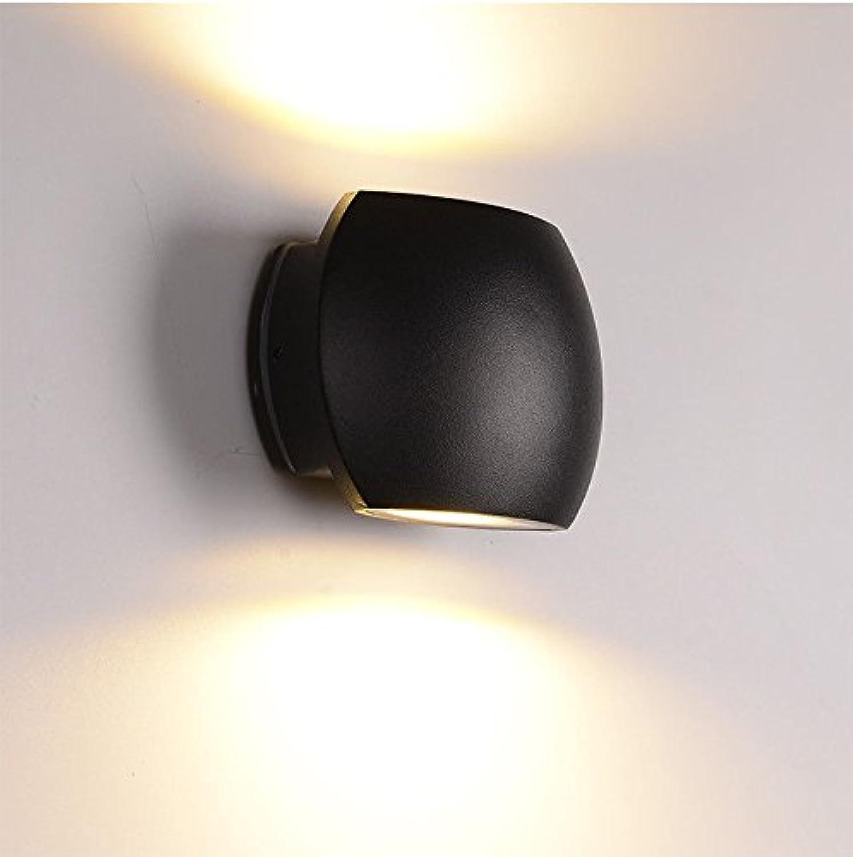 StiefelU LED Wandleuchte nach oben und unten Wandleuchten Wasserdichte Wandleuchten outdoor Balkon Bad LED Wohnzimmer Schlafzimmer Bett Treppen durch Wnde Licht 14  10  6 cm, schwarz