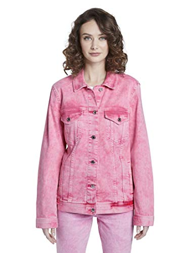 TOM TAILOR Denim Damen Denim Riders Jeansjacke, 22307-washed pink, L