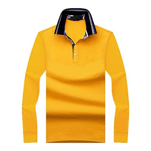 Camiseta de manga larga para hombre de primavera y otoño con solapa color puro casual, amarillo, XL