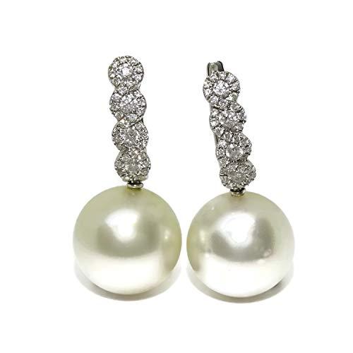 Bellissimi orecchini in oro bianco da 18 K con diamanti da 0,56 K e perle australiane da 13 mm, con chiusura a monachella