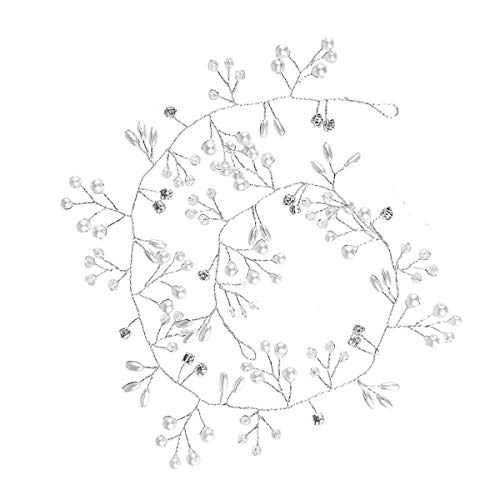 Tocado de pelo de vid nupcial perla plata para fiesta (35 cm)