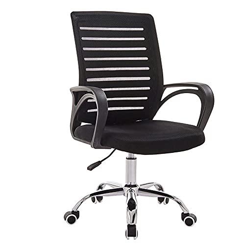 Silla escritorio malla respaldo, con brazos, silla ejecutiva la oficina ejecutiva ajustable altura con asistencia cómoda con soporte lumbar silla giratoria ergonómica para el trabajo en casa,Negro