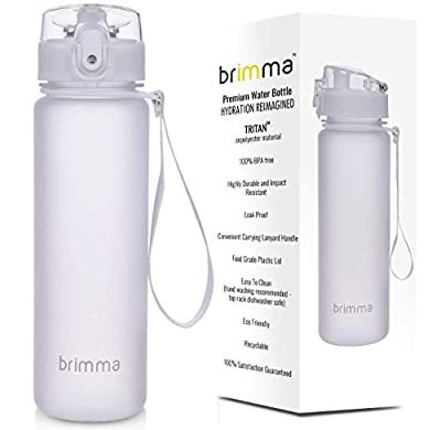 Brimma Premium Sports Water Bottle with Leak Proof Flip Top Lid - Eco Friendly & BPA Free Tritan Plastic - Must Have for The Gym, Yoga, Running, Outdoors, Cycling, and Camping