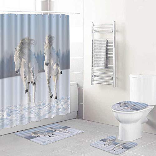 LONSANT Duschvorhang Set,Tiere galoppieren schneeweiße Pferde Farm Winter Field Blue Sky Clouds,Rutschfesten Teppichen Toilettendeckel & Badematte Wasserdichter Duschvorhang für mit 12 Haken
