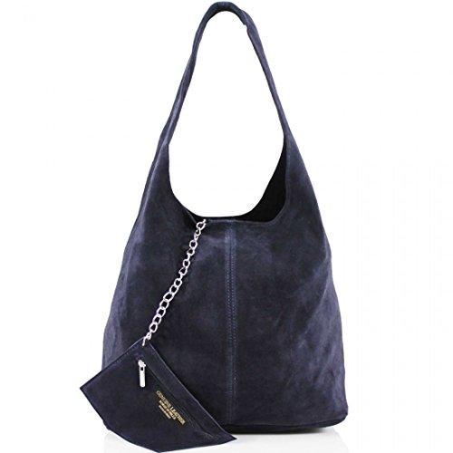 AMBRA Moda Damen Ledertasche Shopper Wildleder Handtasche Schultertasche Beuteltasche WL818 (Dunkelblau)