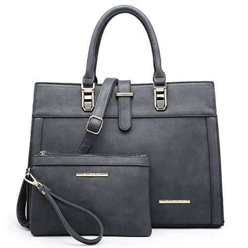 Women's Purse Handbag Shoulder Bag Designer Tote Satchel Hobo Bag Briefcase Work Bag for Ladies (8000 2pcs- Grey)
