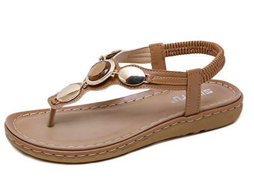 Sandalias planas de verano para mujer, antideslizantes, con piedras preciosas, bohemias, elásticas, a la moda, 123, marrón, 41