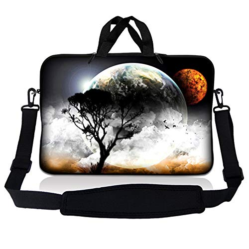 LSS 14.1 inch Laptop Sleeve Bag Carrying Case Pouch w/ Handle & Adjustable Shoulder Strap for 14' 14.1' Apple Macbook, GW, Acer, Asus, Dell, Hp, Sony, Toshiba, Planet Mars Earth and Moon Eclipse