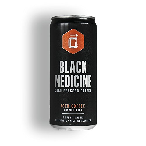 Cold Brew Iced Coffee Drink by Black Medicine 9.5 ounce (6 pack cans) - Double Caffeine, No Sweeteners, Low Acidity, No Calories, Natural - Cold Coffee Intensified Smooth and Flavorful