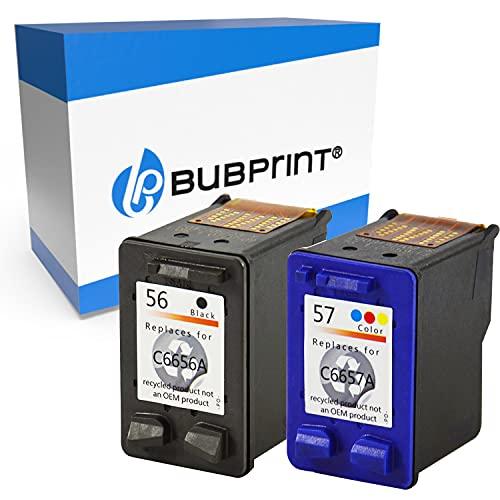 2 Bubprint Cartuchos de Tinta Compatible para HP 56 57 para DeskJet 5150 5550 5600 5650 5652 OfficeJet 5510 PhotoSmart 7760 PSC 1110 1200 1210 1215 1310 1315 1315S 1350 2410