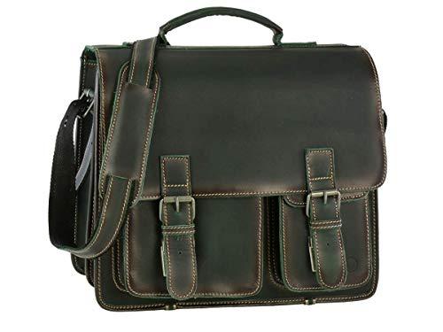Greenburry Aktentasche Leder Schultasche XL Lehrertasche Tasche New Buffalo grün Damen Herren Schule Uni Arbeit