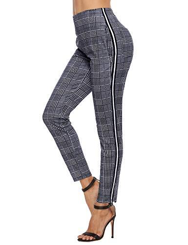 Akalnny Mallas de Deports Largas Pantalones Deportivos Leggings Mujer Elásticos Pantalon Patrón de Cuadros con Banda Lateral para Yoga Running Fitness