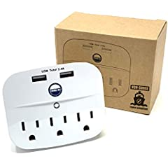 No Surge Protector & Without Extension Cord to be fully cruise ship compliant Adheres to Carnival, Royal Caribbean, Princess, Norwegian and all major lines' terms & conditions Three, 3-prong outlets and Two USB sockets for a total of Five [5] plugs a...