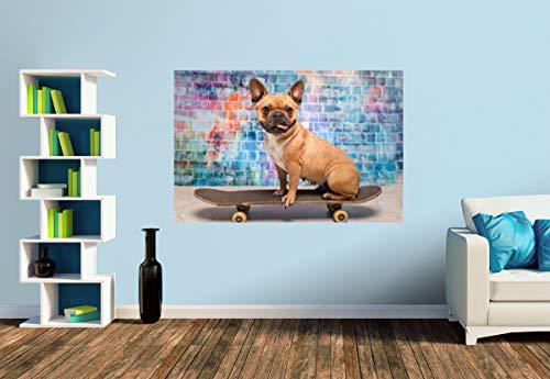 Premium Foto-Tapete Franz. Bulldogge auf Skateboard (versch. Größen) (Size S | 186 x 124 cm) Design-Tapete, Wand-Tapete, Wand-Dekoration, Photo-Tapete, Markenqualität von ERFURT