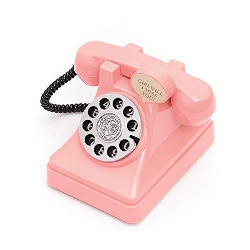 フェリモア 貯金箱 レトロ 電話 懐かしい 子供 女の子 おもちゃ雑貨 インテリア 取り出し可 (ピンク)