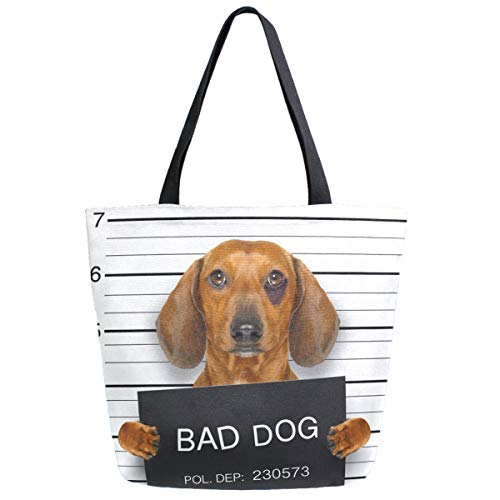 ZzWwR Dachshund Sausage Dog Holding Police Department Banner Extra Large Canvas Shoulder Tote Top Storage Handle Bag for School Gym Beach Weekender Travel Reusable Grocery Shopping