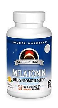 Source Naturals Sleep Science Melatonin 2.5 mg Orange Flavor - Helps Promote Sleep - 60 Lozenge Tablets