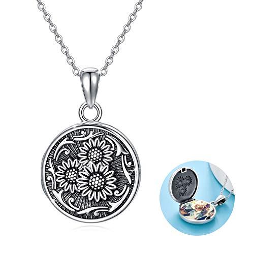 Kette Damen Medaillon Personalisierte Sonnenblumen Kette Foto Halskette Photo Medaillon Erweitern Foto anhänger Amulett Schmuck für Damen Mädchen Mutter
