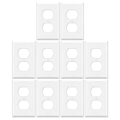 """10 Pack - ELECTECK 1-Gang Duplex Wall Plate, Unbreakable Thermoplastic Light Switch Outlet Cover, Standard Size 4.52"""" x 2.77"""", White"""