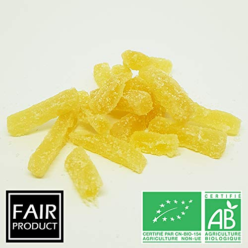 Les Papoteuses   Gingembre confit bio en barres 500 g   Certifié Biologique   Filière Commerce Équitable   100% naturel   Fruits Confits de Qualité Supérieure   Sans Conservateur