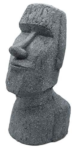 Möbelbörse Steinfigur Osterinsel Moai 55cm Gartenfigur Kopf Deko Figur Haus Garten Skulptur Statue Steinguss Kunstharz Gartenfigur Gartenskulptur Steinstatue Indoor/Outdoor Grau
