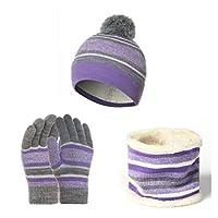 帽子 キッズウィンター帽子スカーフグローブキットコットンウール糸ニットポンポム帽子暖かいビーニースカーフグローブコットンスリーピースウォームセット (Color : Light Purple)