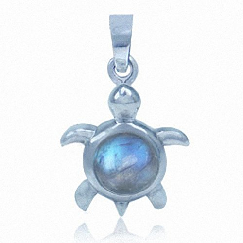 Silvershake Natural Moonstone 925 Sterling Silver Turtle Solitaire Pendant
