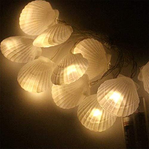 Led-shell lichte ketting, schelp, decoratieve lamp, slaapkamer, eetkamer, sfeer, snoer, batterij, binnen, woorden voor warm bruiloft, party, familietuin