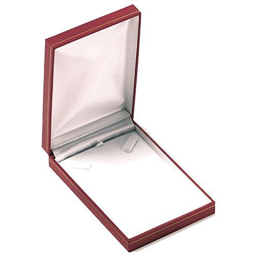 Cofanetto per collana, colore: rosso, in confezione regalo, gioielli in cuoio
