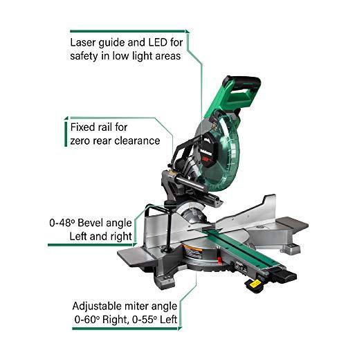 Metabo HPT 10-Inch Sliding Miter Saw | Zero Rear Clearance Slide System | Dual Bevel | Laser Marker (C10FSHCT)