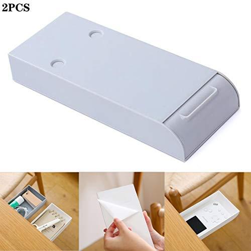 2 STÜCKE freies lochen schreibtisch schublade, versteckte paste büromaterial regal aufbewahrungsbox, aufbewahrungsbox, schublade federmäppchen (grau)