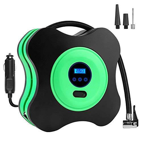 Gonfleur de pneu de voiture, pompe à pneu électrique à arrêt automatique, compresseur d'air 12V DC 150PSI avec lumière LED numérique LCD pour pneus de voiture/vélo/moto/balles/anneaux de natation,vert