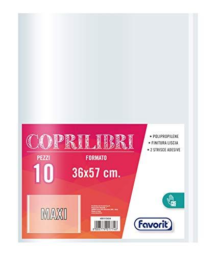 Favorit Coprilibri Formato Maxi 36 x 57 Trasparenti, Finitura Liscia, Conf. da 10 pezzi