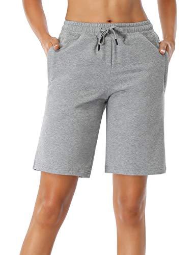 SEVEGO Pantalones Cortos de Algodón de 25cm de Costura Interior con Bolsillos con Cremallera para Entrenamientos Activos Claro Gris L
