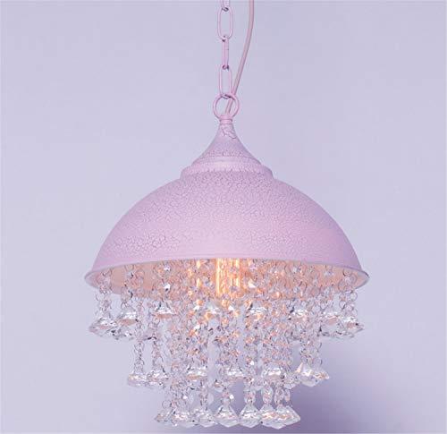 Plafonnier Lustre,Fil Métallique À Suspendre en Cristal Industriel Vintage Réglable Φ330mm - Rose