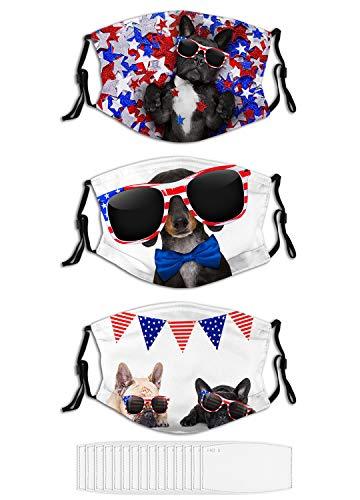 3PCS Face Mask Couple French Bulldog Dogs Celebrating Unisex Masks for Men Women