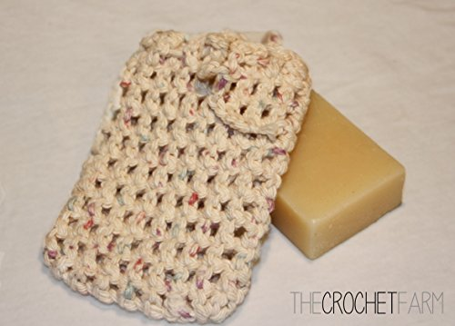 All Cotton Neutral Color Crocheted Soap Bag, Soap Saver, Pouch